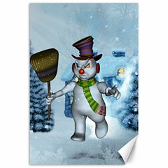 Funny Grimly Snowman In A Winter Landscape Canvas 24  X 36  by FantasyWorld7