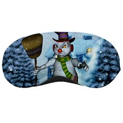 Funny Grimly Snowman In A Winter Landscape Sleeping Masks by FantasyWorld7