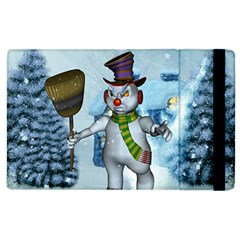 Funny Grimly Snowman In A Winter Landscape Apple Ipad 2 Flip Case by FantasyWorld7