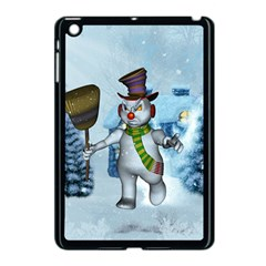 Funny Grimly Snowman In A Winter Landscape Apple Ipad Mini Case (black) by FantasyWorld7