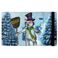 Funny Grimly Snowman In A Winter Landscape Apple Ipad Pro 12 9   Flip Case by FantasyWorld7