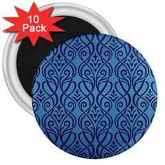 Art Nouveau Teal 3  Magnets (10 Pack)  by 8fugoso