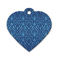 Art Nouveau Teal Dog Tag Heart (one Side) by 8fugoso