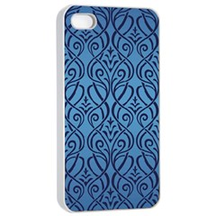 Art Nouveau Teal Apple Iphone 4/4s Seamless Case (white) by 8fugoso