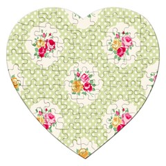 Green Shabby Chic Jigsaw Puzzle (heart) by 8fugoso