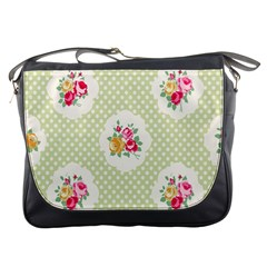 Green Shabby Chic Messenger Bags by 8fugoso