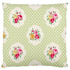 Green Shabby Chic Large Cushion Case (one Side) by 8fugoso