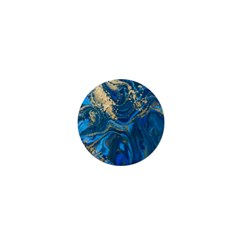 Ocean Blue Gold Marble 1  Mini Buttons by 8fugoso