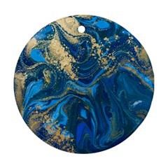 Ocean Blue Gold Marble Ornament (round) by 8fugoso