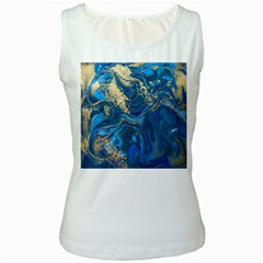 Ocean Blue Gold Marble Women s White Tank Top by 8fugoso