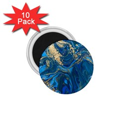 Ocean Blue Gold Marble 1 75  Magnets (10 Pack)  by 8fugoso