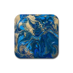 Ocean Blue Gold Marble Rubber Coaster (square)  by 8fugoso