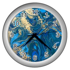 Ocean Blue Gold Marble Wall Clocks (silver)  by 8fugoso