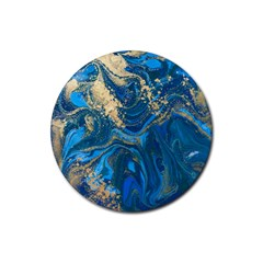 Ocean Blue Gold Marble Rubber Round Coaster (4 Pack)  by 8fugoso