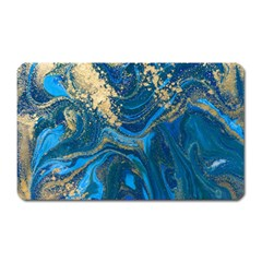Ocean Blue Gold Marble Magnet (rectangular) by 8fugoso