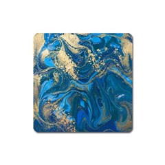 Ocean Blue Gold Marble Square Magnet by 8fugoso