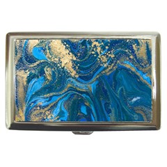 Ocean Blue Gold Marble Cigarette Money Cases by 8fugoso