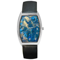 Ocean Blue Gold Marble Barrel Style Metal Watch by 8fugoso