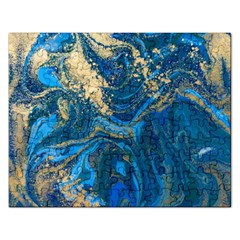 Ocean Blue Gold Marble Rectangular Jigsaw Puzzl by 8fugoso