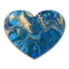 Ocean Blue Gold Marble Heart Mousepads by 8fugoso