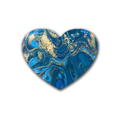 Ocean Blue Gold Marble Heart Coaster (4 Pack)  by 8fugoso