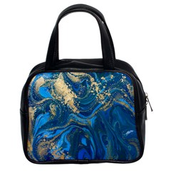 Ocean Blue Gold Marble Classic Handbags (2 Sides) by 8fugoso