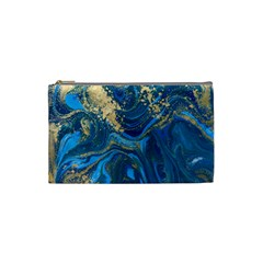 Ocean Blue Gold Marble Cosmetic Bag (small)  by 8fugoso