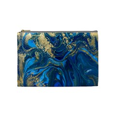 Ocean Blue Gold Marble Cosmetic Bag (medium)  by 8fugoso