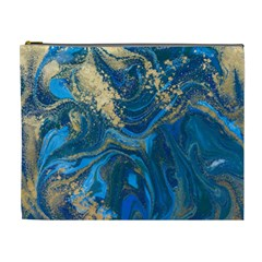 Ocean Blue Gold Marble Cosmetic Bag (xl) by 8fugoso