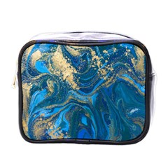 Ocean Blue Gold Marble Mini Toiletries Bags by 8fugoso