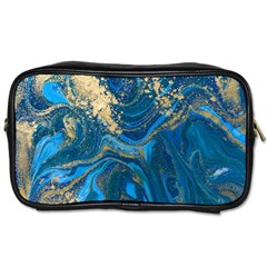 Ocean Blue Gold Marble Toiletries Bags by 8fugoso