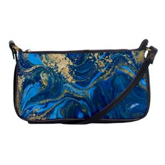 Ocean Blue Gold Marble Shoulder Clutch Bags by 8fugoso
