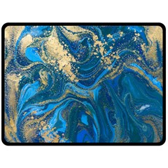 Ocean Blue Gold Marble Fleece Blanket (large)  by 8fugoso