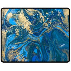 Ocean Blue Gold Marble Fleece Blanket (medium)  by 8fugoso