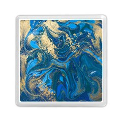 Ocean Blue Gold Marble Memory Card Reader (square)  by 8fugoso