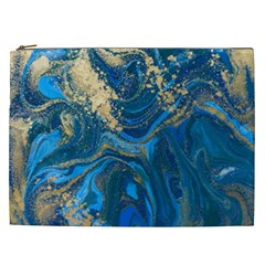 Ocean Blue Gold Marble Cosmetic Bag (xxl)  by 8fugoso