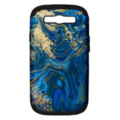 Ocean Blue Gold Marble Samsung Galaxy S Iii Hardshell Case (pc+silicone) by 8fugoso