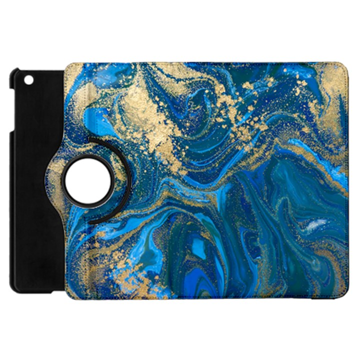 ocean blue gold marble Apple iPad Mini Flip 360 Case