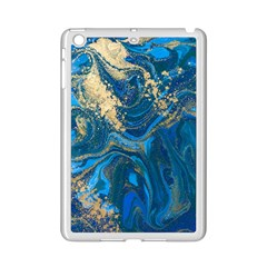 Ocean Blue Gold Marble Ipad Mini 2 Enamel Coated Cases by 8fugoso