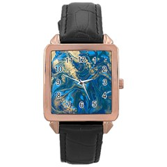 Ocean Blue Gold Marble Rose Gold Leather Watch  by 8fugoso