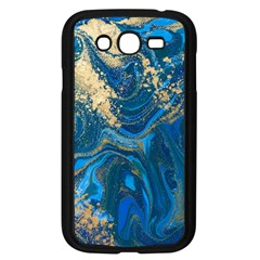 Ocean Blue Gold Marble Samsung Galaxy Grand Duos I9082 Case (black) by 8fugoso