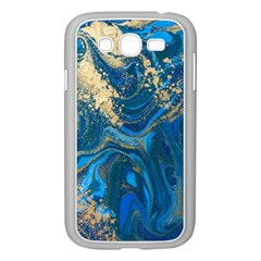 Ocean Blue Gold Marble Samsung Galaxy Grand Duos I9082 Case (white) by 8fugoso