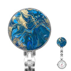 Ocean Blue Gold Marble Stainless Steel Nurses Watch by 8fugoso
