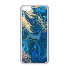Ocean Blue Gold Marble Apple Iphone 5c Seamless Case (white) by 8fugoso