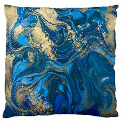 Ocean Blue Gold Marble Large Flano Cushion Case (one Side) by 8fugoso