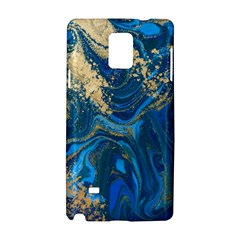 Ocean Blue Gold Marble Samsung Galaxy Note 4 Hardshell Case by 8fugoso