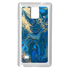 Ocean Blue Gold Marble Samsung Galaxy Note 4 Case (white) by 8fugoso
