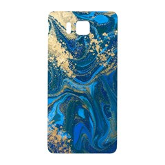 Ocean Blue Gold Marble Samsung Galaxy Alpha Hardshell Back Case by 8fugoso