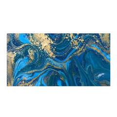Ocean Blue Gold Marble Satin Wrap by 8fugoso