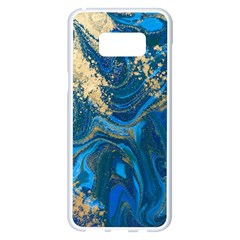 Ocean Blue Gold Marble Samsung Galaxy S8 Plus White Seamless Case by 8fugoso
